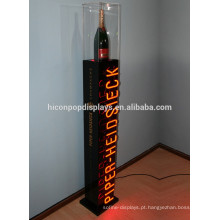 Bar Or Wine Loja de varejo Rack Custom Mark Floorstanding Iluminação Led Champagne Champagne Liquor Bottle Display