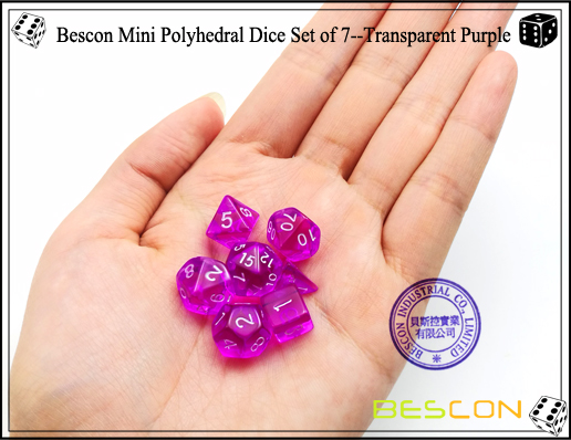 Bescon Mini Polyhedral Dice Set of 7--Transparent Purple-5