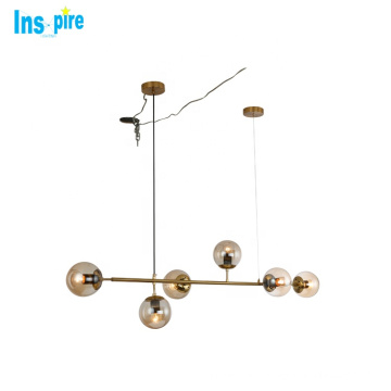 Fancy new deco amber glass hanging lamp living room led color changing chrome balloon pendant lights