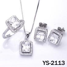 Nupcial Jóias 925 Prata Cubic Zirconia Wedding Jewellery Set.