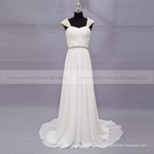 Classique cœur doux perlé bouchon manches clés trou en mousseline de soie robe de mariée