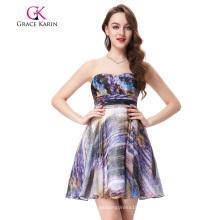 Grace Karin sin mangas de gasa impreso corto vestido de baile de fin de curso GK000114-1