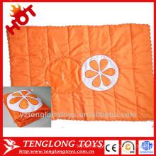 custom logo embroidery travel pillow blanket