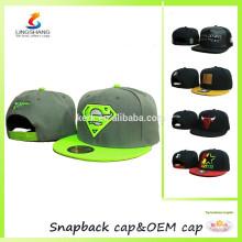 Tampão de brim liso impresso costume, snapback do basebol ostenta o chapéu, tampão superior anca