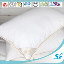 Almohada de pluma de ganso con inserción de almohada firme de tela de algodón con ribete de satén dorado