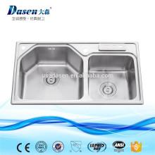 DS8448 camper fogão a gás de aço inoxidável pia da cozinha com lavatório escorredor