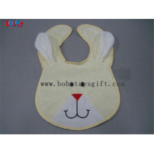 "13""Wholesale Baby Items Plush Embroidery Beige Rabbit Baby Bibs"
