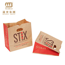 Custom Printing Recyclable Brown Kraft Grocery Food Packaging Die Cut Handle Paper Bag For Take-Away