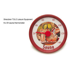 Cartoon Round Metal Thermometer Red D13cm For Sauna Room