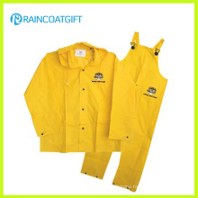 Waterproof Yellow PVC/Polyester PVC Men′s Rainsuit Rpp-030A