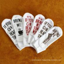 Custom white color short socks with letter breathable ankle socks women