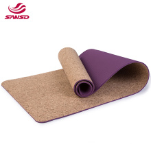 9mm OEM custom non slip eco friendly tpe rubber cork  yoga mat with double layer