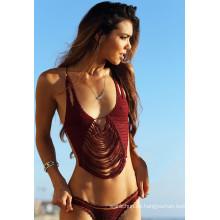 Boho Halter Crocheted Schwimmen tragen Badeanzug Kostüm Bademode Bikini Kleid
