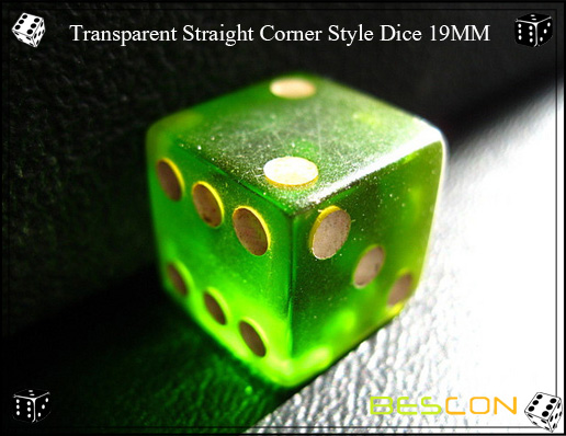 Transparent Straight Corner Style Dice 19MM