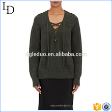 Projeto novo da camisola de lã do pescoço longo da luva V para a camisola das senhoras