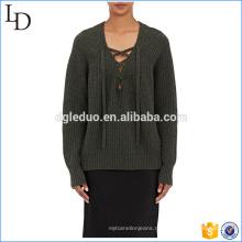 С длинным рукавом V шеи шерстяной свитер новый дизайн для дамы свитер