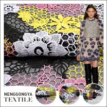 Nuevo diseño popular eco amigable bordado malla multicolor tela de encaje