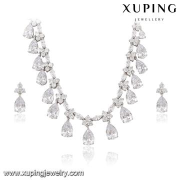63938 Ensemble de bijoux de luxe de luxe Xuping, ensemble de bijoux de mariée plaqué de rhodium de couleur