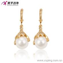91187 Оптовая жемчужные серьги дизайн красивый белый шар золотые серьги аксессуары благородный ювелирные изделия с бриллиантами для женщин