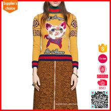 El nuevo diseño empaqueta los suéteres para mujer únicos del jacquard de los suéteres de las mujeres
