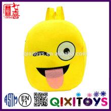 Heißer Verkauf Plüsch Emoji Rucksack beliebte Design Rucksack 2017 interessante Plüsch Emoji Rucksack für Kinder
