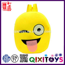 Hot sell plush emoji backpack popular design backpack 2017 interesting plush emoji backpack for kids