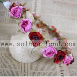 Red + Pink Rose Flower Wedding Headband Party Floral Garland