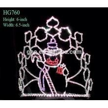 Hairbands casamento nupcial personalizado coroas tiaras mini rhinestone Santa Claus coroa