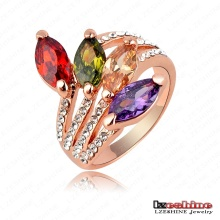 18k Rose Gold Finger Ring, Fashion Leaf Shape Engagement Finger Rings, Crystals Costume Jewelry (Ri-HQ0221)
