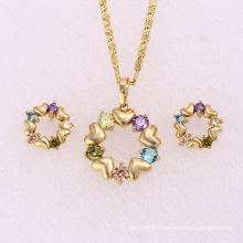 14k Gold Plated Multicolor Stones Fashion Jewelry Set (62131)
