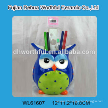 2016 factory direct sales ceramic pen holder with owl design