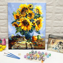 Paint by numbers on canvas sunflowers