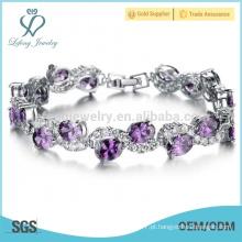 Braceletes de diamantes de platina na moda, jóias pulseiras de charme das mulheres