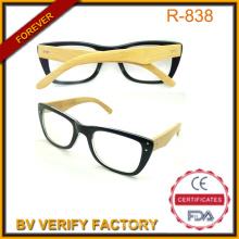 China gafas fábrica lectura gafas R131 con brazos de bambú