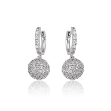 97331 xuping luxurious fashion rhodium color ball shape zircon paved ladies drop earrings