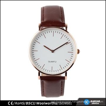 stainless steel leather watch 3 hands quartz watch