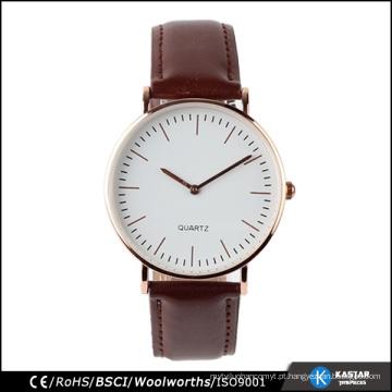 Relógio de couro de aço inoxidável relógio de quartzo de 3 mãos