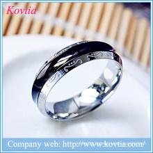 Forever love mens anel titânio aço anel preto anel de ouro branco O anel