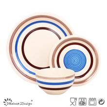 Juego de mesa de cerámica azul pintado a mano de alta calidad 18PCS