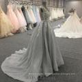 Fabrik Großhandel grau backless elegante formale Kleid Blume A-Linie Abendkleid