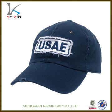 sombreros de gorra de béisbol al por mayor / sombreros de béisbol gastados de encargo del vaquero / logotipo del applique barato béisbol de alta calidad del sombrero