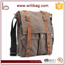 Wholesale Customizable Men's Canvas Leather Messenger Bag