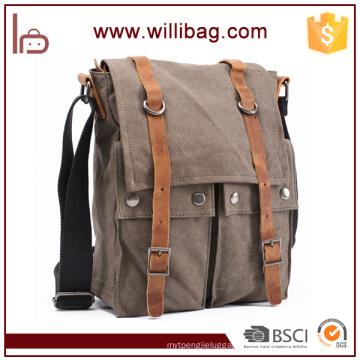 Wholesale Customizable Men's Canvas Leather Messenger Bag