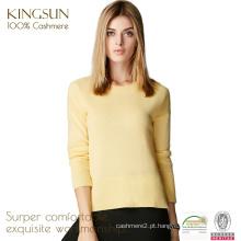 JS-09001 OEM / ODM serviço slim crew-neck jaqueta de caxemira suéter feminino