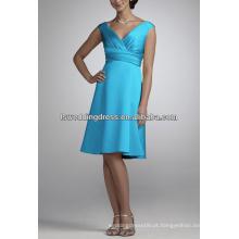 HC2143 Brilhante azul profundo V pescoço cintura alta faixa de cetim comprimento do joelho curto zipper volta barato A-line vestido de noite de estilo europeu