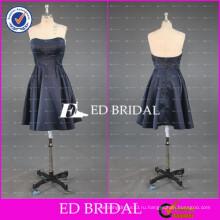 ЭД реальный образец милая невесты Длина колена короткие темно-синий атласное платье невесты 2017