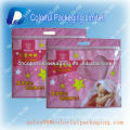 Plastic ziplock bag/Laminated pouch with zipper/baby clothing bag with window&hand hole