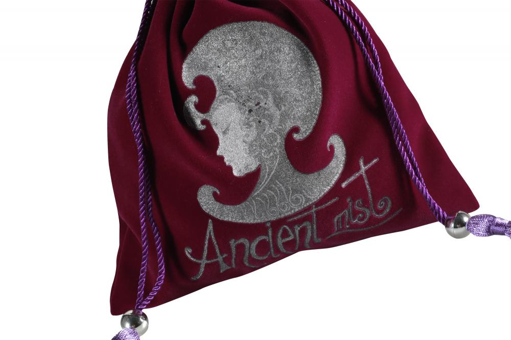 Purple velvet logo pouch with purple tassel