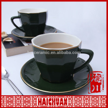 Porcelain coffee cup and saucer sets with stainless steal spoon