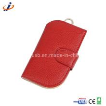 Caixa de couro vermelha USB Flash Drive (JL17)